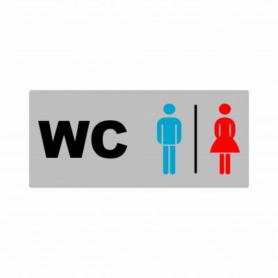 Μεταλλική σήμανση αλουμινίου  - WC Ανδρών - Γυναικών - 18cm X 8cm